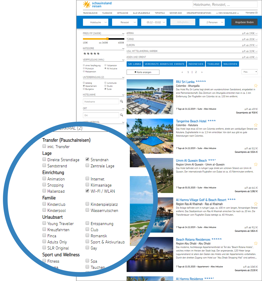 Internet Hotel Guide facts example screenshot schauinsland-reisen