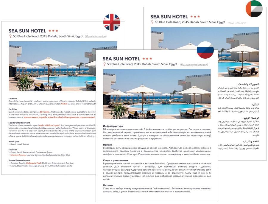 Beispiel Screenshots für Multilingual Hotel descriptions und facts