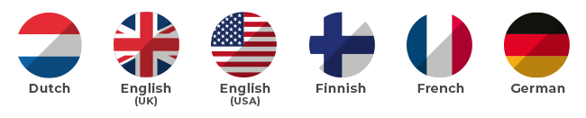 Dutch, English (UK and USA), Finnish, French, German