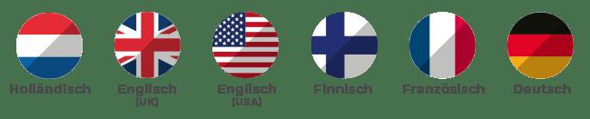 Holländisch, Englisch (UK und USA), Finnisch, Französisch, Deutsch