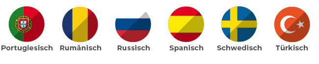 Portugiesisch, Rumänisch, Russisch, Spanisch, Schwedisch, Türkisch